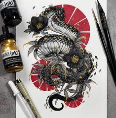 Japanese Tattoos 188588303134507883 - Coiled Snake by Jonna Hyttinen Source by BellaRosazza Tattoo Sketches, Tattoo Drawings, Art Sketches, Art Drawings, Drawing Art, Kunst Tattoos, Body Art Tattoos, Sleeve Tattoos, Arabic Tattoos