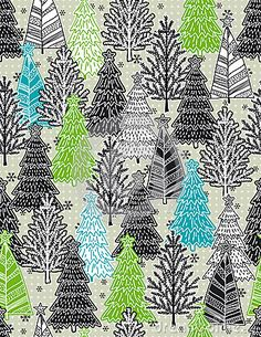 Christmas background with forest of christmas trees, vector illustration