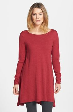 Eileen Fisher Ballet Neck Swoop Back Lightweight Merino Tunic (Regular & Petite) available at #Nordstrom