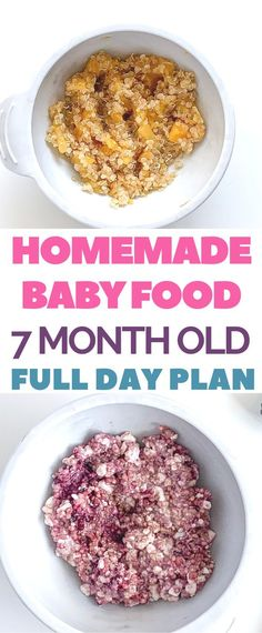 Homemade easy baby food recipes in the nutritionist created meal plans with breakfast, lunch and dinner. For 7 month old baby. With puree and baby-led weaning options. Toddler Food, Toddler Meals, Nutrition Guide, Kids Nutrition, Meal Plan For Toddlers, Baby Meal Plan, 7 Month Old Baby, Baby Recipes, Baby Eating
