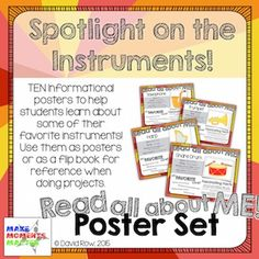 """""""Read All About Me"""" Poster Set that mimics the """"All about Me"""" posters that students often fill out about themselves in their classroom. Fun way to teach the instruments."""