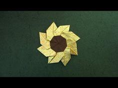 "Instructions on how to fold an origami flower ""Gaillardia""; Designed by Meenakshi Mukerji; Video by Sara Adams Origami Yoda, Origami And Kirigami, Origami Dragon, Fabric Origami, Origami Fish, Origami Stars, Origami Paper, Origami Wreath, Origami Leaves"