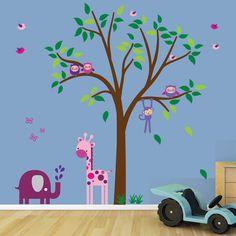 children's wall murals rainbow and tree | Reusable Childrens Jungle Tree Wall Decal Wall Sticker | eBay