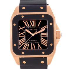 2d41242150580 Cartier Santos 100 XL Rose Gold Black Rubber Strap Watch W20124U2