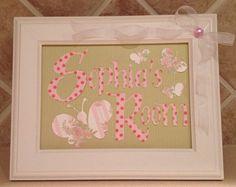 Nursery Decor, nursery art, butterfly framed picture, baby shower gift, handmade sign, baby nursery sign, pink white baby decor,girl on Etsy, $20.00
