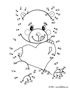 Beloved Teddy Bear printable connect the dots game. Color in this Beloved Teddy Bear printable connect the dots game and others with our library of .