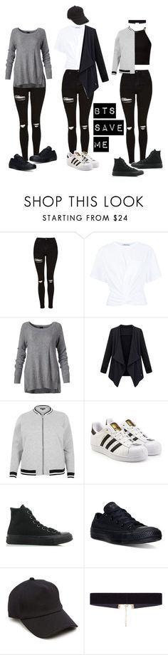 """""""BTS Save Me Outfit"""" by michelycolon on Polyvore featuring moda, Topshop, T By Alexander Wang, River Island, adidas Originals, Converse, rag & bone y 8 Other Reasons"""