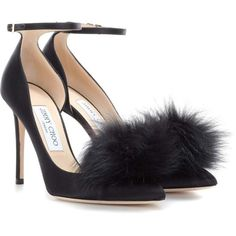 Jimmy Choo Rosa 100 Satin Pumps With Clip-on Fur Pompoms ($825) ❤ liked on Polyvore featuring shoes, pumps, heels, scarpe, black, jimmy choo pumps, jimmy choo, pom pom pumps, black heel pumps and black satin shoes