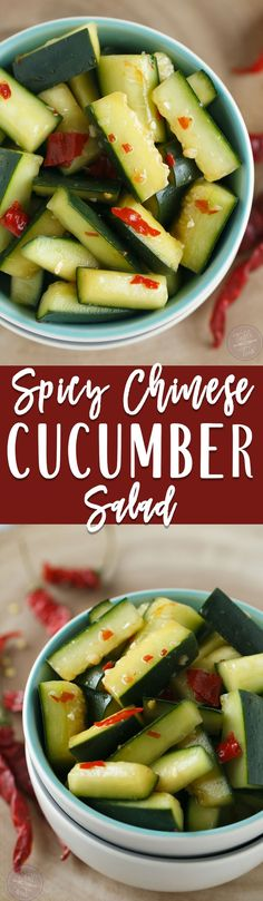 A refreshing starter for any meal! This spicy Chinese cucumber salad will kickstart your tastebuds and give you a salty sweet combo along with it! Spicy Cucumber Salad, Cucumber Recipes, Cucumber Smoothie, Juicer Recipes, Smoothie Cleanse, Lchf, Bento, Mozzarella, Asian Recipes
