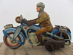 Rare Motorcycle Arnold A643 Clockwork Made U.S Zone Germany 1940's Tin Litho