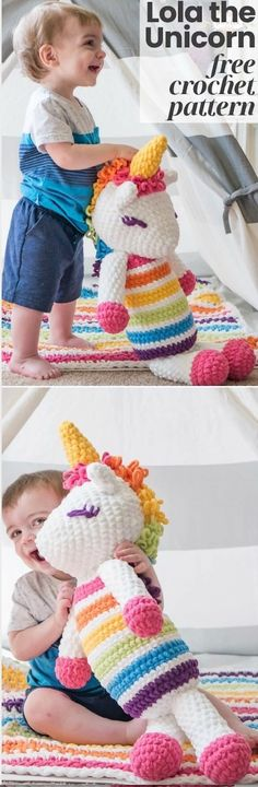 These Unicorn Crochet Pattern Ideas are amongst the most popular in circulation and there's something for everyone including plenty of free patterns to try. Cute Crochet, Crochet Toys, Crochet Baby, Knit Crochet, Amigurumi Patterns, Knitting Patterns, Crochet Patterns, Amigurumi Doll, Crochet Ideas