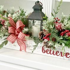 Farmhouse Christmas Decor~Wood Box Arrangement~Table Centerpiece with Lantern and Christmas Greenery in a Long Wood Box : Beautiful Christmas wood box centerpiece with lantern Christmas Greenery, Christmas Lanterns, Christmas Arrangements, Farmhouse Christmas Decor, Country Christmas, Rustic Christmas, Christmas Holidays, Christmas Wreaths, Christmas Decorations