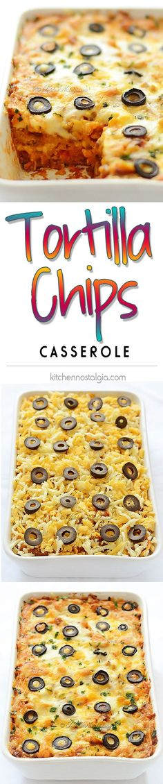 Tortilla Chips Casserole - easy cheesy casserole with ground beef, corn tortilla chips, burrito sauce, Mexican vegetable mix and topped with melting cheese - kitchennostalgia.com