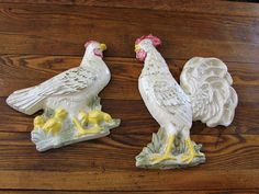 Vintage Chalk Ware Plaster Hen Chicks and Rooster Wall Hangings Shabby Chic