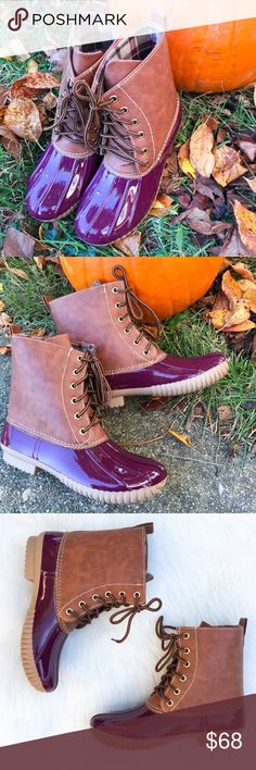 "Wine Burgundy Duck Boots These gorgeous wine red and brown duck boots are perfect for those snowy and rainy Winter days! Waterproof rubber base and sole with a lace up front. Heel Height: 1"" . Search: rain boot, red duck boots, red boots, snow boot. Runs true to size. *PLEASE DON'T USE MY PHOTOS TO RESELL  ▫️Add to Bundle"" to add more items in my closet or ""Buy"" to checkout here with your size.  ↓Follow me on Instagram ↓         @ love.jen.marie  📷YouTube: http://youtu.be/HyJJZVz3gUI…"