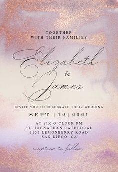 Violet Glitter - Wedding Invitation #invitations #printable #diy #template #wedding Glitter Wedding Invitations, Wedding Invitation Templates, Response Cards, Text Messages, Reception, Printable, Island, Diy, Bricolage