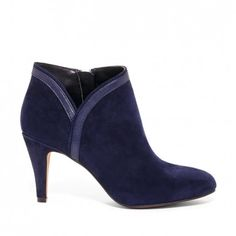 Women's New Navy Suede 2 3/4 Inch Almond Toe Suede Bootie | Roxine by Sole Society
