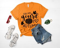 This cheery shirt is made out of cuddly airline-combed cotton that gets softer and softer after each wash. Funny Shirts, Tee Shirts, Fall Quotes, Fall Shirts, Shirts With Sayings, Heat Transfer, Cool Tees, Shirts For Girls, Colorful Shirts