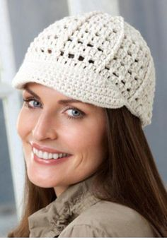 EASY PETITE BRIMMED CAP — From:http://www.favecrafts.com /Crochet-Hat-Patterns/Easy-to-Crochet-Petite-Brimmed-Cap-from-Red-Heart-Yarn