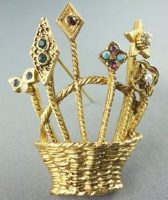 Vintage Brooch Basket Stemmed Flowers Pin Gold Tone Green Ruby Clear Rhinestones Pearl