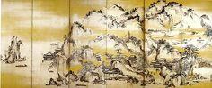 68. 金山西湖図屏風, Jinshan Island and West Lake - Kano Sanraku - Edo period (1630)