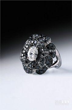 Chanel Black Camellia ring