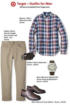 ea7aa5de0b19 All items available at Target.com. What To Wear To Work On Friday. A linen  Madras shirt paired with natural browns and khakis.