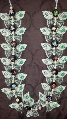 Items similar to Butterfly money lei on Etsy- Items similar to Butterfly money lei on Etsy Butterfly money lei by Alloccasionsmoneylei on Etsy - Money Lei, Money Origami, Money Cake, Origami Paper, Money Necklace, Folding Money, Origami Folding, Paper Folding, Money Flowers