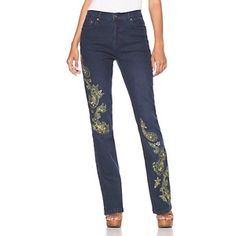 DG2 Embroidered Paisley and Jewels Indigo Boot-Cut Jeans at HSN.com.