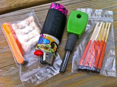 The contents of my ultralight fire starting kit.