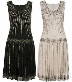 WOMENS LADIES CHIFFON SEQUIN EMBELLISHED MIDI SWING PARTY FLAPPER DRESS 8-16