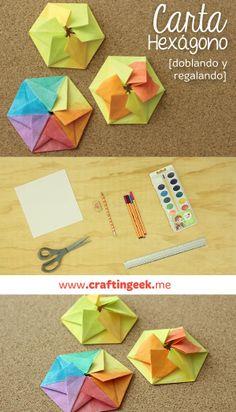 Cartita hexagonal con acuarelas. Ve como hacerla aquí http://craftingeek.me/2014/04/carta-hexagono-con-acuarelas/