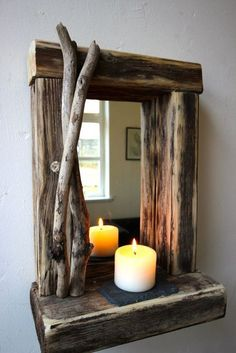Rustic Reclaimed Driftwood Farmhose Mirror With Shelf Unique Gift In Home Furniture DIY Decor Candle Tea Light Holders