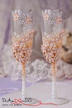 Tostado flautas neutro boda COLOR copas de champagne flores