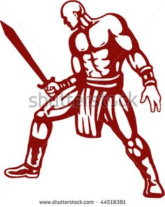 vector illustration of a warrior drawing a sword #warrior #retro #illustration