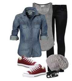 Sporty Look with Rolled Up Sleeves Denim Jacket with Bright Maroon Sneakers and Knit Skull Cap