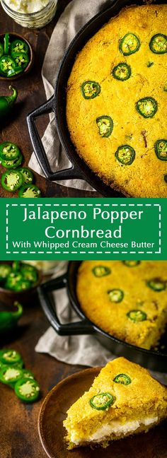 For a unique cornbread recipe, you'll love this jalapeno popper cornbread! This cheesy jalapeno cornbread is filled with a whipped cream cheese butter to emulate everyone's favorite party snack, and you'll find this jalapeno cheddar cornbread goes with just about every fall dinner. #jalapenopoppercornbread #jalapenocornbread #jalapenobaconcornbread #cheesyjalapenocornbread