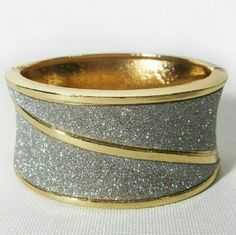 """NWT Gold Cuff Bracelet Silver Gold Lining - 2.5"""" x 2"""" in diameter   - Website : www.ForYourBigDate.com   - Free surprise gift included Jewelry Bracelets"""