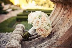 Romantic Sahara Rose and Babys Breath Bridal Bouquet - The French Bouquet - Kevin Paul Photography