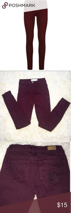 Cute Burgundy Skinny Jeggings These burgundy skinny jeans are an absolute necessity in every closet. The material is similar to real denim only with a bit more stretch. They have only been worn about three times. Brand is RSQ, but they were bought at tillys. Super cute and sad to see them go, but I'm a bit tall for them now (bought within a year ago). Sized at 0, but I put 00 because they are a bit tight; however, they could really fit either. Although the front pockets are just decoration…
