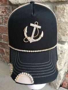 8072d70b68e Items similar to Women s black anchor Trucker Hat. Baseball Hat. Women s Hat .hat.Tan. snap back.rhinestone. bling. cap. Distressed. on Etsy