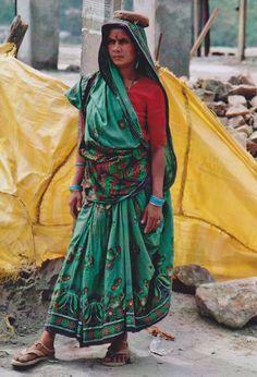Gujrati style sari worn by a woman laborer