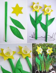 Springtime Crafts Paper Plate Cupcake Daffodils: A simple 5 minute craft to brighten up everyone's day – all you need are some paper plates, mini cupcake liners, buttons and some paint. For the stems we just rolled up sheets of paper, stapled them close Spring Theme, Spring Art, Spring Crafts, Kids Crafts, Easter Crafts, Arts And Crafts, Daffodil Craft, Daffodil Day, Daffodil Flowers