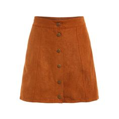 Faux Suede Buttoned Front Skirt Khaki (8.980 CLP) ❤ liked on Polyvore featuring bottoms and romwe