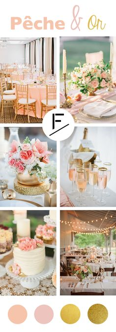 Décoration de mariage tendance Pêche et Or Peach & Gold: a chic and refined trend for a wedding Chic Wedding, Trendy Wedding, Wedding Table, Perfect Wedding, Wedding Day, Wedding Centerpieces, Wedding Decorations, Wedding Reception Invitations, Pink Table