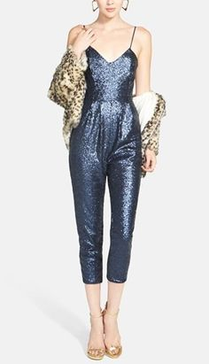 Gorgeous pairing | Faux fur jacket & sequin jumpsuit.