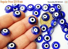 120 Pcs  Wholesale Beads  12 mm Blue Evil by PrettyTurkishThings