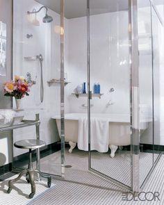 "Bathroom with ""wet room."" Master bath of the Manhattan apartment of fashion designer Lela Rose. Elle Decor."