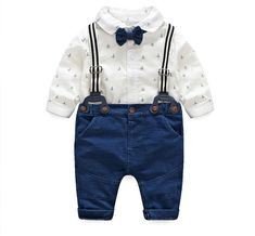 Bow Tie 3pcs Outfit Outwear Blue 12 18 24 Month Possessing Chinese Flavors New Baby Boy Toddler Clothing Sets Gentalman T-shirt Tops Bib Pants Overalls