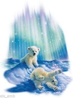 TSHIRT    Polar Bear Cubs Northern Lights   by AlwaysInStitchesCo